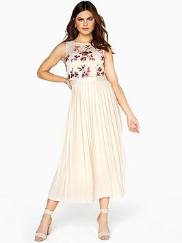 little-mistress-embroidered-top-pleat-midi-dress-cream