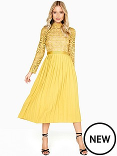 little-mistress-crochet-top-pleated-midi-dress-mustard