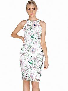 paper-dolls-racer-neck-bodycon-dress-floral-print