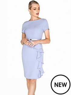 paper-dolls-belted-ruffle-detail-dress-blue