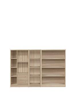 metro-3-piece-storage-bookcase-package-oak-effect