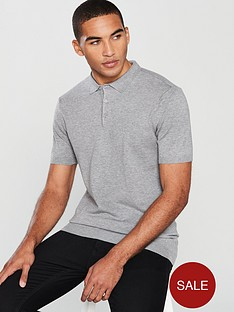 v-by-very-short-sleeved-knitted-polo-grey-marl