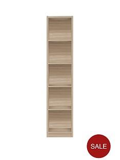 metro-tall-half-width-bookcase-oak-effect