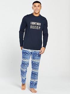 v-by-very-slogan-jersey-top-fleece-fairsle-bottoms-loungewear-set