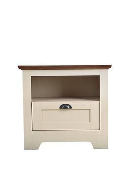 Very  Devon 1 Drawer Lamp Table - Ivory/Walnut Effect