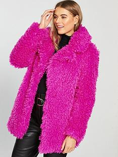 v-by-very-teddy-faux-fur-coat-bright-pinknbsp