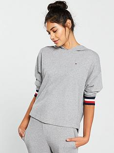 tommy-hilfiger-stripe-cuff-hooded-lounge-top-grey
