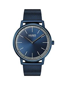 hugo-hugo-exist-blue-2-hand-dial-with-blue-ip-stainless-steel-mesh-bracelet-mens-watch
