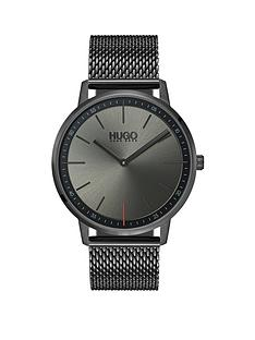 hugo-hugo-exist-grey-2-hand-dial-with-grey-ip-stainless-steel-mesh-bracelet-mens-watch