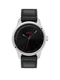hugo-hugo-dare-black-3-hand-dial-with-black-leather-strap-mens-watch