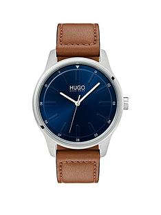 hugo-dare-blue-3-hand-dial-with-brown-leather-strap-mens-watch