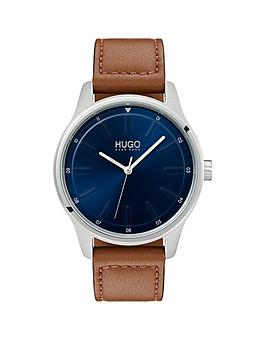 HUGO Hugo Hugo Dare Blue 3 Hand Dial With Brown Leather Strap Mens Watch Picture