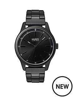 hugo-hugo-dare-black-3-hand-dial-with-black-ip-stainless-steel-bracelet-mens-watch