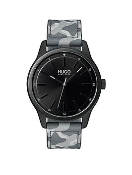 hugo-hugo-dare-black-3-hand-dial-with-grey-camo-leather-strap-mens-watch