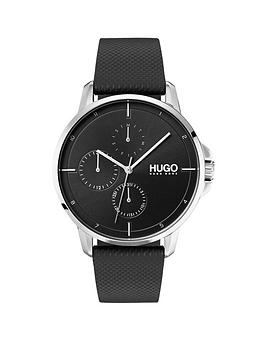 HUGO Hugo Focus Black Multi-Dial Watch With Black Leather Strap Picture