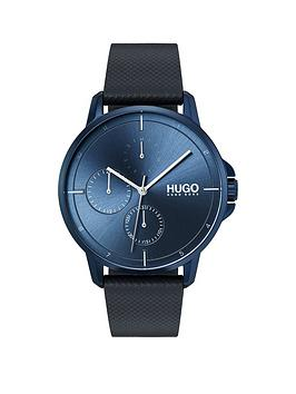HUGO Hugo Hugo Focus Blue Multi-Dial Watch With Blue Leather Strap Picture