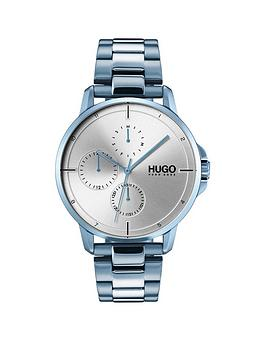 HUGO Hugo Focus Silver Multi-Dial Watch With Blue Ip Stainless Steel Strap Picture
