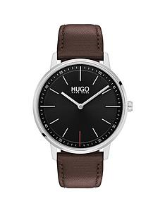 hugo-hugo-exist-black-2-hand-dial-with-brown-leatehr-strap-mens-watch