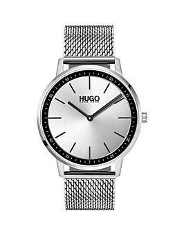 hugo-hugo-exist-silver-2-hand-dial-with-stainless-steel-mesh-bracelet-mens-watch