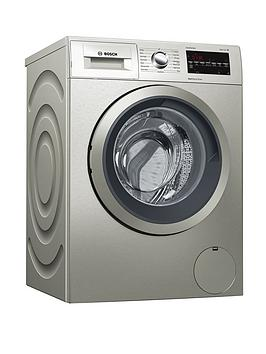 bosch serie 6 wat2840sgb 9kg load, 1400 spin washing machine  with varioperfect - silver inox