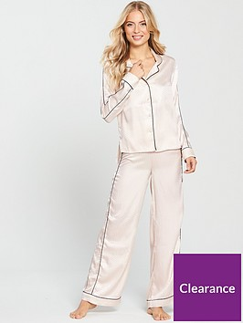 v-by-very-jacquard-wide-leg-satin-pyjama-set-cream