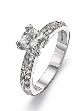 Moissanite Moissanite 18 Carat White Gold 100Pt Equivalent Cushion Cut Ring Picture