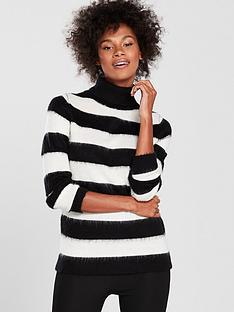 v-by-very-brushed-stripe-jumper-blackwhite