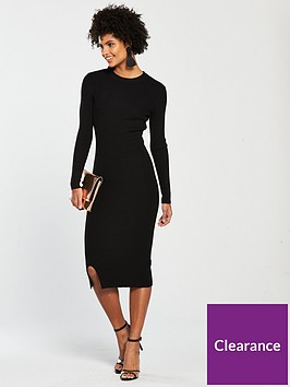 v-by-very-skinny-rib-split-hem-knitted-midi-dress-black