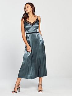 little-mistress-strappy-lace-trim-pleated-midi-dress-slate