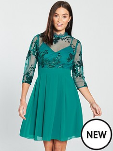 little-mistress-34-sleeve-sequin-mesh-skater-dress-green