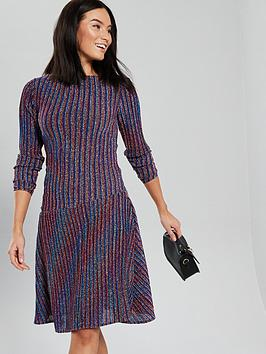 v-by-very-striped-long-sleeve-lurex-dress-multi