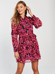 v-by-very-tie-waist-ruffle-skirt-shirt-dress-print