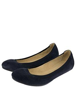 accessorize-elasticated-suede-ballerina-navy