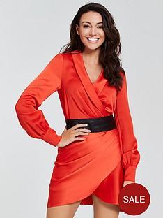 michelle-keegan-satinnbspcuffed-wrap-dress--nbsporange