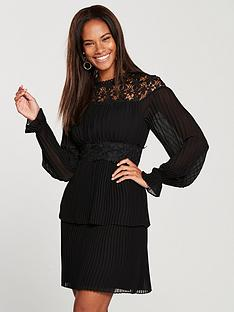 v-by-very-pleated-skirt-lace-yoke-dress-black