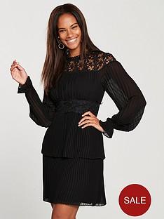 v-by-very-pleated-skirt-lace-yoke-dress-black