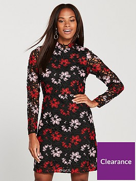 v-by-very-floral-coloured-lace-long-sleeve-dress-multi