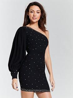 michelle-keegan-studded-one-shoulder-mini-dress-blacknbsp