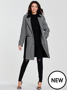 michelle-keegan-colour-block-check-coat-monochrome