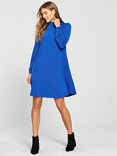 v-by-very-high-neck-gathered-sleeve-tunic-bluenbsp