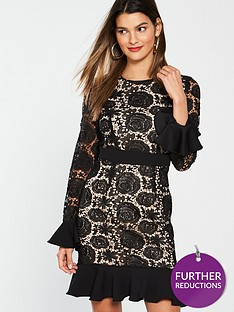 v-by-very-fluted-sleeve-and-hem-lace-dress-black