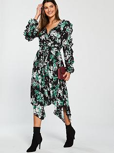 v-by-very-split-sleeve-wrap-dress-printed