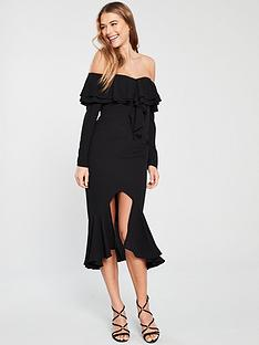 v-by-very-ruffle-front-and-hem-pencil-dress-black