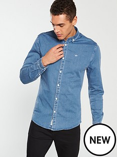 river-island-long-sleeve-muscle-fit-denim-shirt-blue