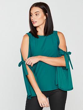 v-by-very-split-sleeve-bow-top-jade