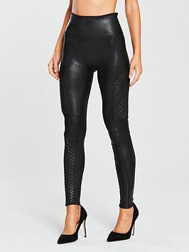Spanx   Firm Control Faux Leather Moto Leggings - Black