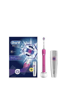 Oral-B    Pro 680 Pink 3Dwhite Electric Toothbrush With Travel Case- Limited Edition