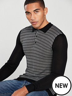 v-by-very-long-sleeve-textured-knit-polo-black