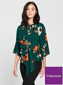ax-paris-knot-front-printed-top-teal