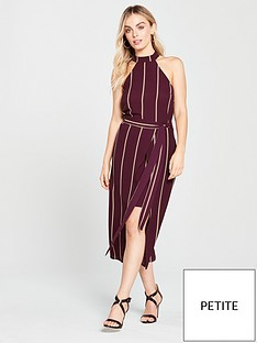 ax-paris-petite-pin-striped-overlay-dress-plumnbsp